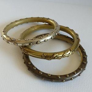🇨🇦 Vintage BOHO three brass bangle bracelets